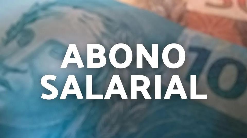 """Abono salarial 2021 adiado: montagem com cédulas de dinheiro desfocadas. Em destaque, texto """"abono salarial"""""""