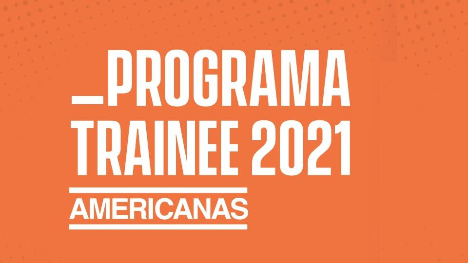 Programa de trainee das Americanas: banner do programa de trainee das Americanas em fundo alaranjado