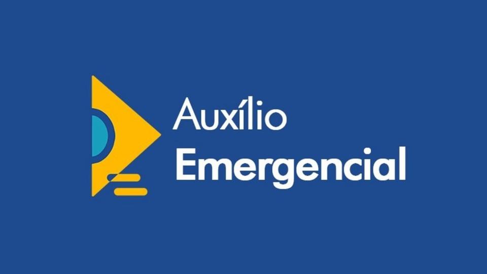 fila de espera do auxílio emergencial: logo do auxílio emergencial em fundo azulado