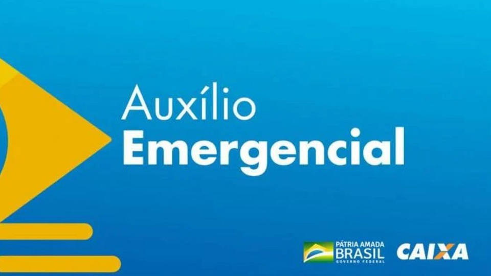 auxílio emergencial: a imagem mostra a logo do auxílio emergencial em amarelo com o nome do benefício ao lado num fundo azul