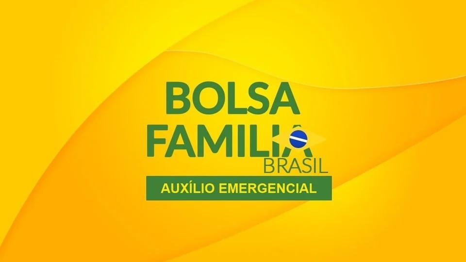 """Como Bolsa Família pode contestar auxílio emergencial negado: logo do Bolsa Família em fundo amarelado. Abaixo, é possível ler o texto: """"auxílio emergencial"""""""