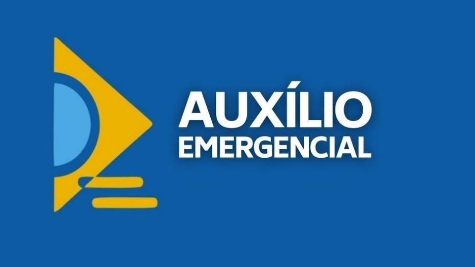 SMS para cobrar auxílio emergencial indevido: logo do auxílio emergencial em fundo azulado