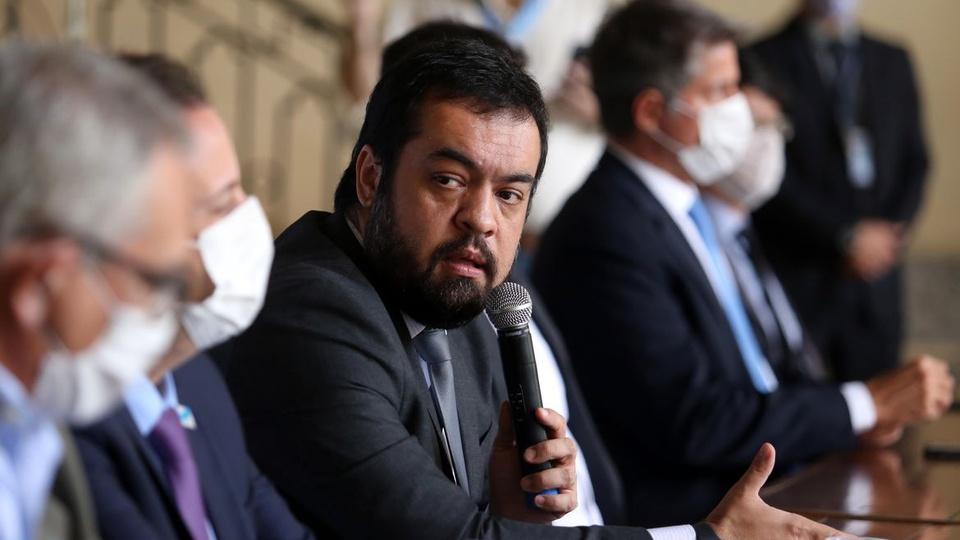 Auxílio tecnológico do Rio de Janeiro: governador do Rio de Janeiro, Cláudio Castro, em pronunciamento