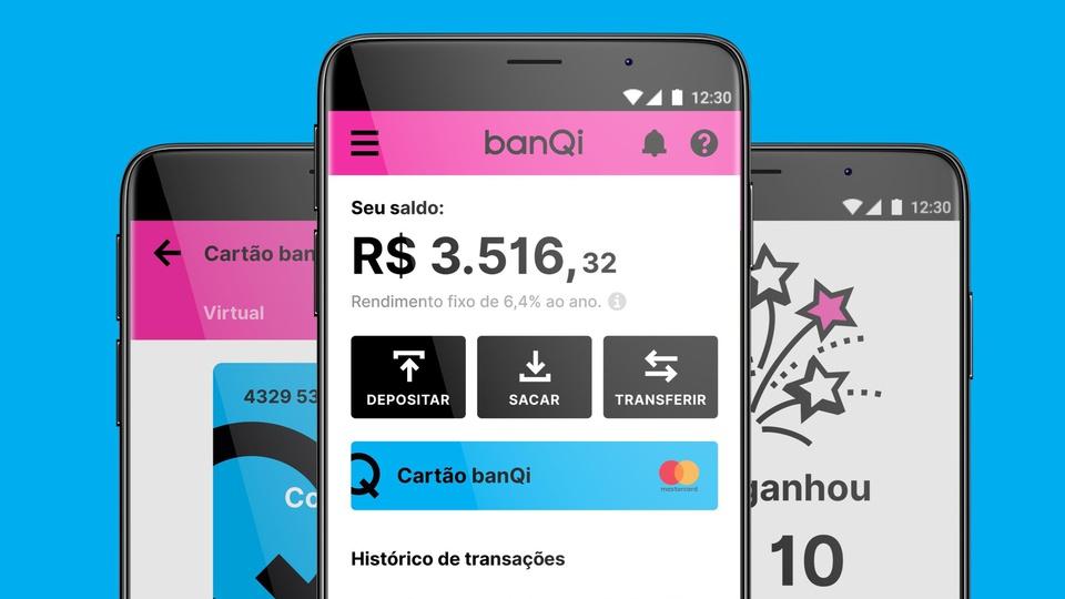 banQi oferece conta digital gratuita e saques nas Casas Bahia, imagens de celulares com aplicativo do banQi aberto na tela