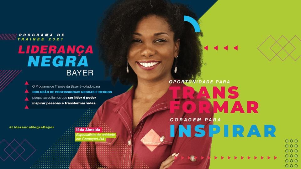 programa trainee Bayer para negros: imagem é uma arte montada para o programa de trainee bayer com foto de mulher sorrindo e frases sobre o programa