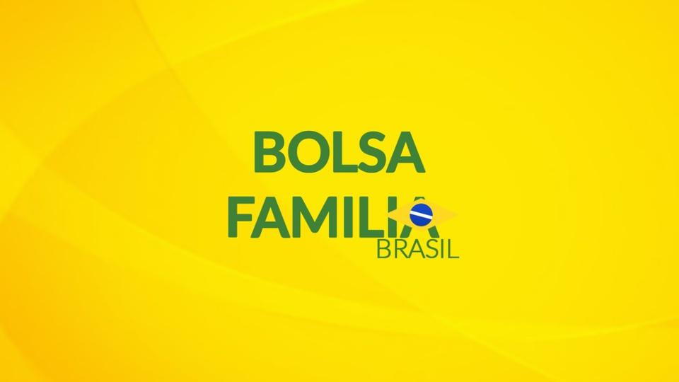 Cesta básica para beneficiários do Bolsa Família: logo do Bolsa Família em fundo amarelado