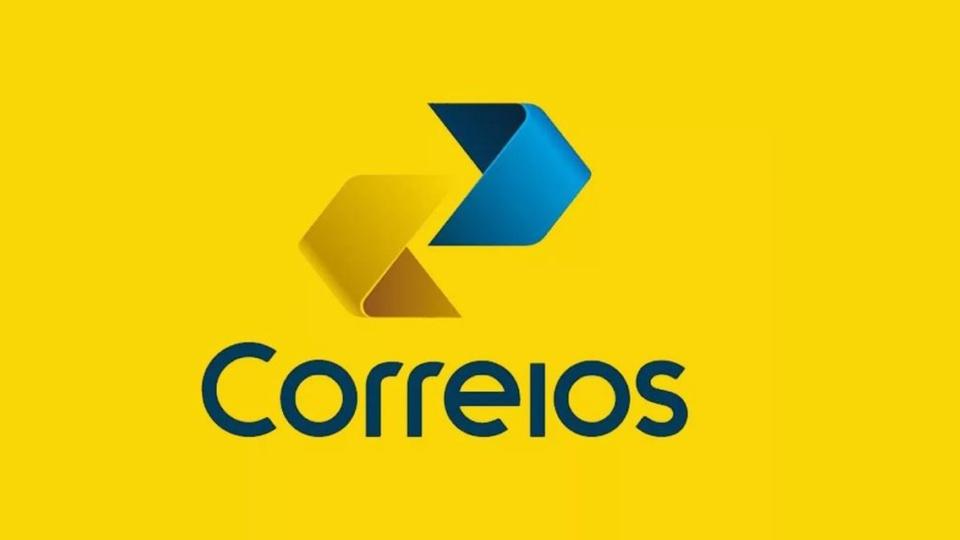 privatização dos correios: a imagem mostra a logo dos Correios em fundo amarelo
