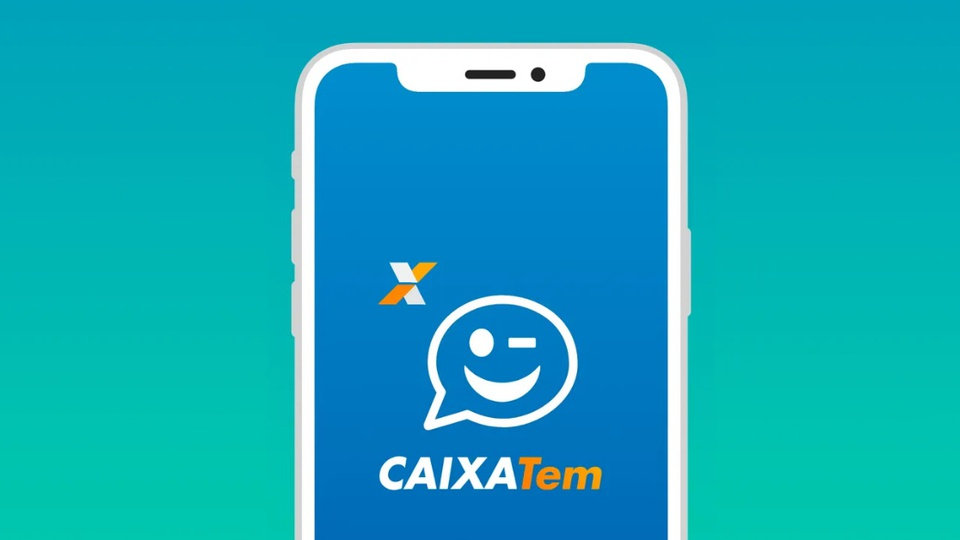 Como usar o app do Caixa Tem para fazer suas compras: ilustração de celular. Na tela dele, é possível ver a página inicial do aplicativo Caixa Tem