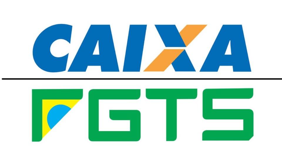 Caixa oferece antecipação do FGTS pelo saque-aniversário, logos do FGTS e da Caixa