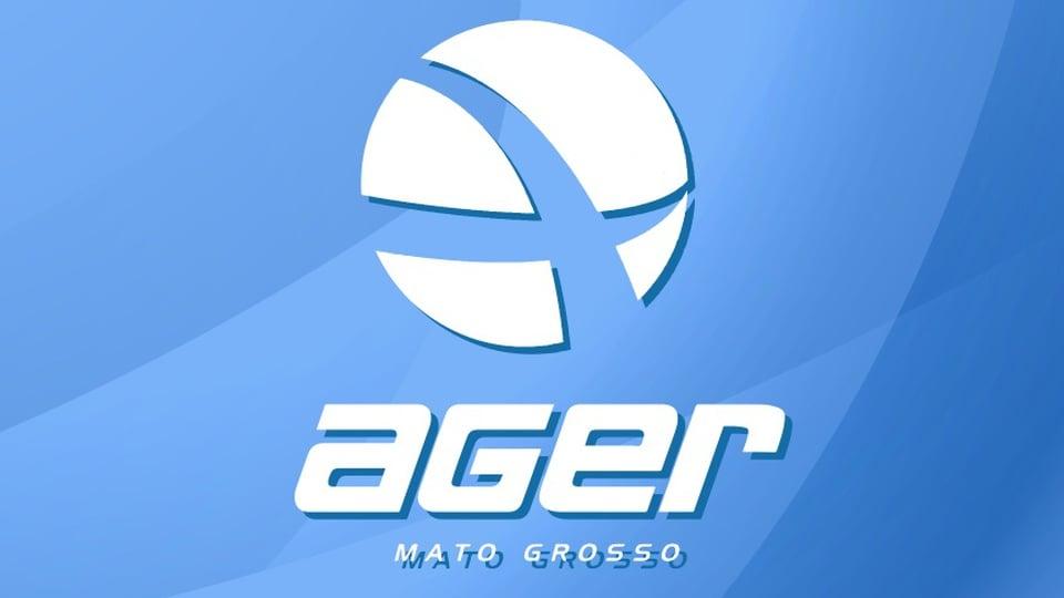 concurso ager mt: a imagem mostra a logo da Ager em branco num fundo azul