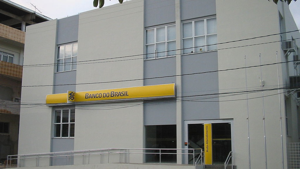 concurso banco do brasil: a imagem mostra fachada de agencia do banco do brasil