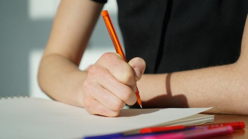 Concurso Câmara de Porto Feliz:  #PraCegoVer a imagem mostra parte de uma pessoa estudando, fazendo anotações com caneta no caderno