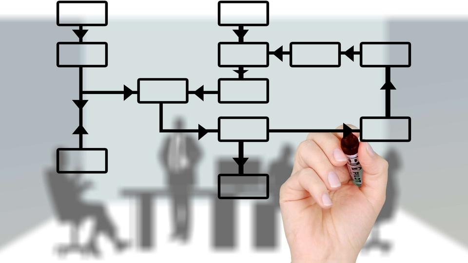 Concurso CRA SC: a foto mostra ilustração de uma pessoa com caneta ilustrando um organograma, simbolizando o trabalho de um profissional de administração de empresas