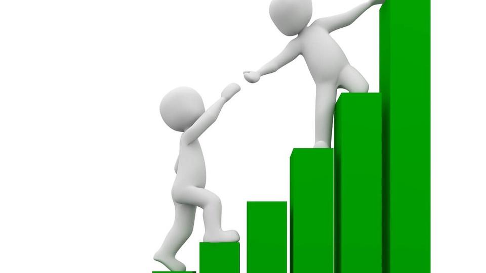 Concurso CVM: a foto mostra uma ilustração com dois bonecos brancos e uma escada assemelhada a um gráfico de barras