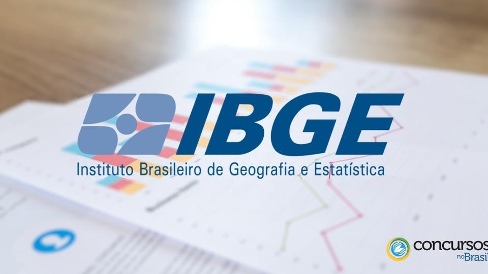 concurso ibge vagas temporárias: logo do IBGE a frente de papéis com gráficos