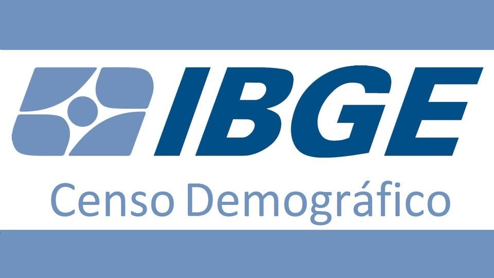 Concurso IBGE Censo: a imagem mostra a logo do IBGE entre faixas azuis