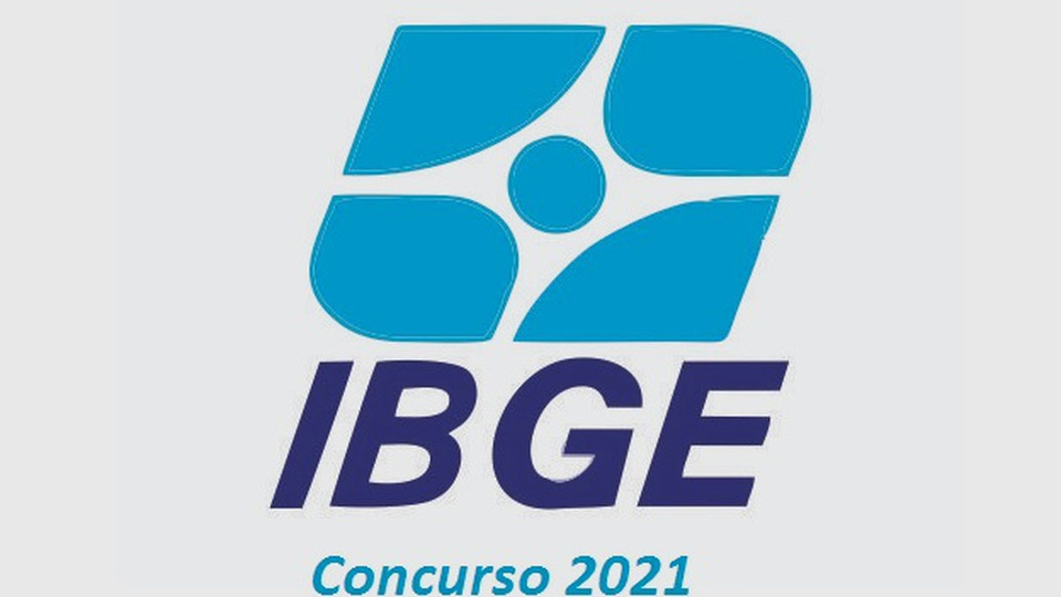 concurso ibge: a imagem mostra a logo do IBGE azul em fundo cinza