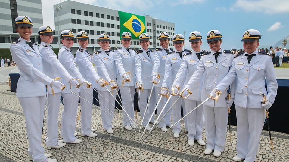 Concurso marinha quadros complementares: a imagem mostra marinheiras fardadas em meia lua apontando espadas para o centro com bandeira do brasil ao fundo