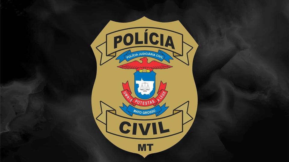 concurso pc mt: a imagem mostra o brasão da polícia civil do mato grosso em fundo preto