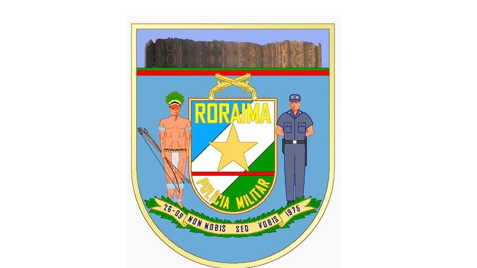 Concurso PM RR: brasão da Polícia Militar do Estado de Roraima, o desenho mostra uma figura de um policial de um lado e a de um índio de outro