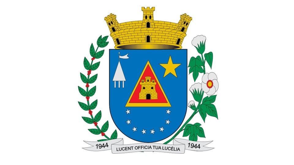 Concurso Prefeitura de Lucélia SP: a foto mostra o brasão do município de Lucélia, São Paulo