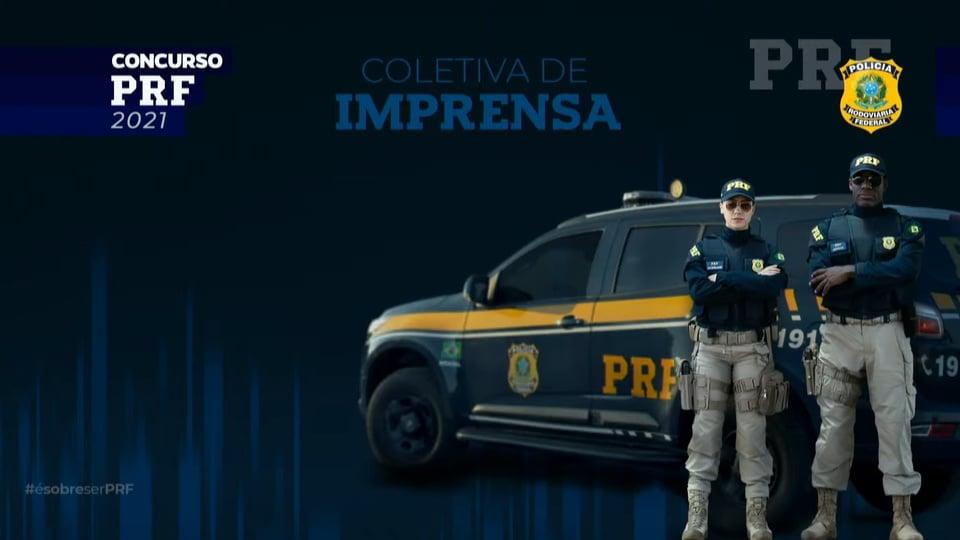 concurso prf: a imagem é uma montagem de dois policiais fardados em frente a num fundo azul, formando o cartaz da coletiva de imprensa