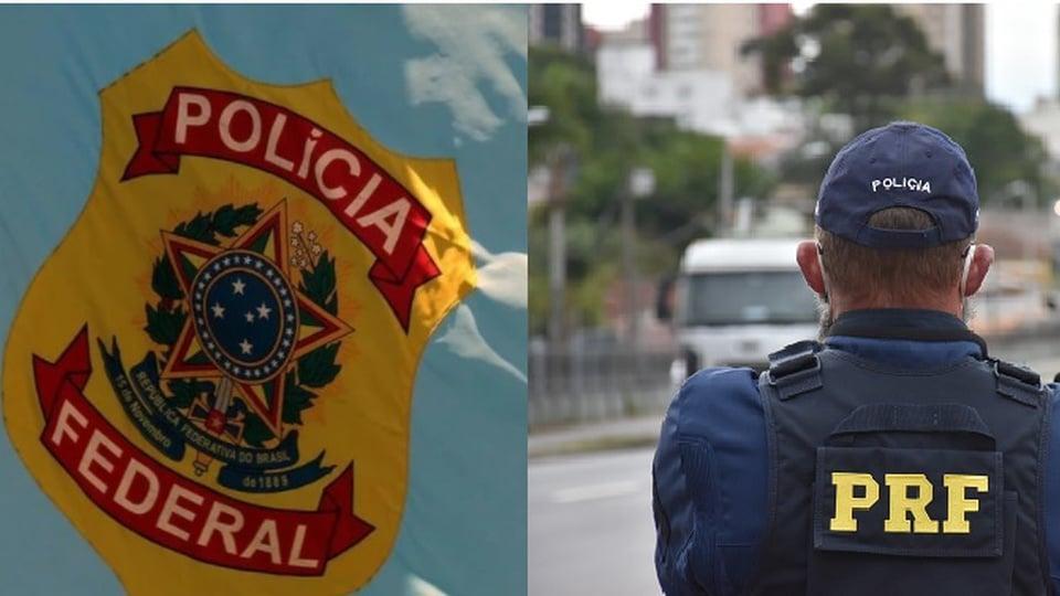 Concurso PRF ou Polícia Federal: qual fazer; logo da PF e agente da PRF ao lado
