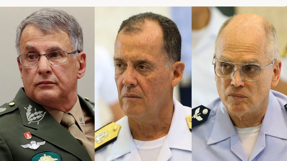 concursos militares: a imagem é uma montagem das fotos dos três comandantes