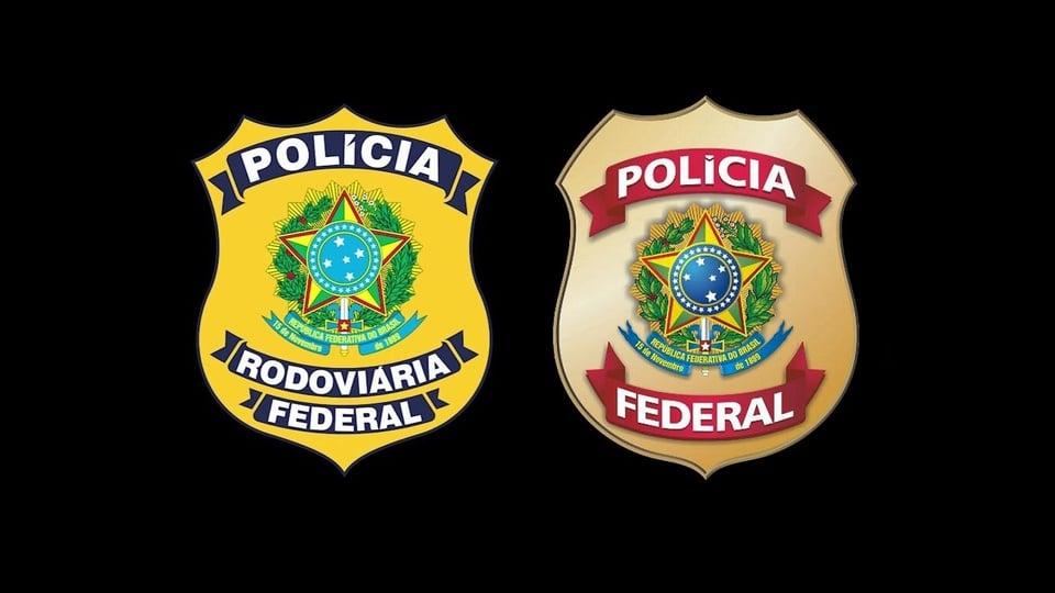 concursos pf e prf: a imagem mostra os brasões da policia rodoviaria federal e policia federal