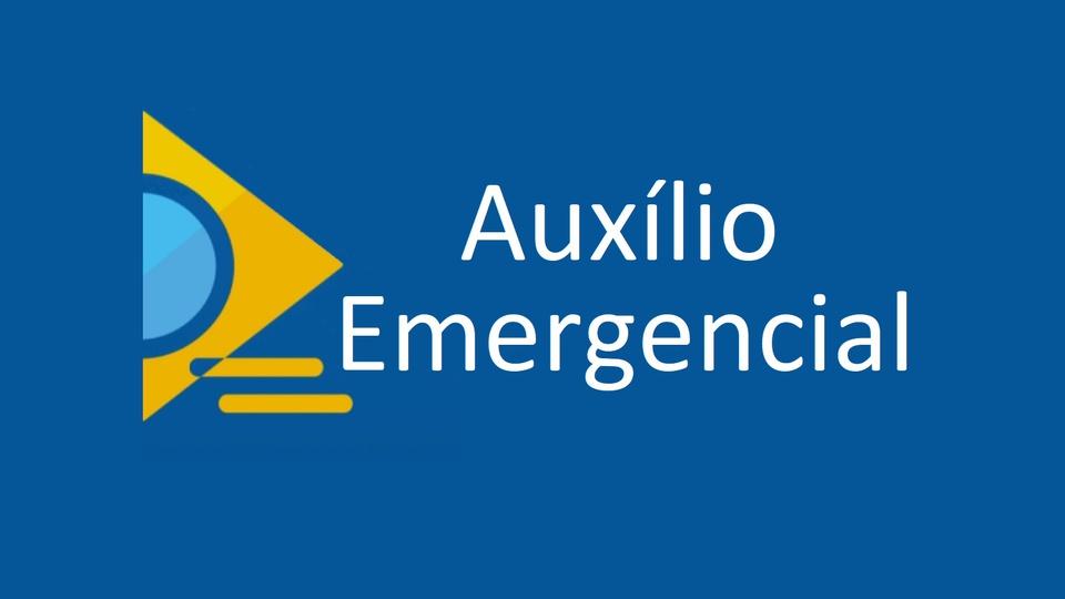 devolução auxílio emergencial: a imagem mostra a logo do auxílio emergencial em fundo azul