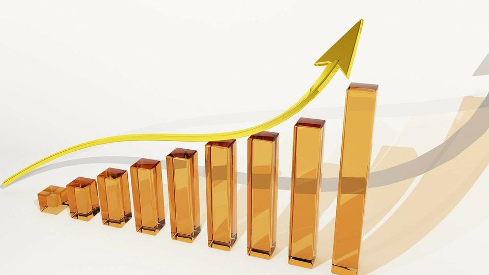 Diferença entre revisão salarial e aumento real do salário, gráfico de barras crescente