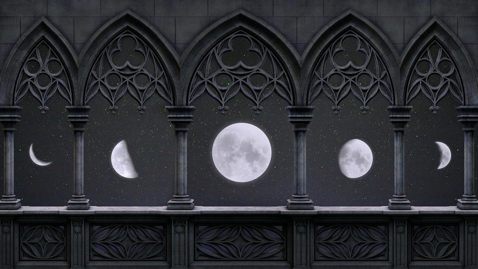 fases da lua: a imagem mostra espécies de janelas em que cada uma tem uma fase da lua