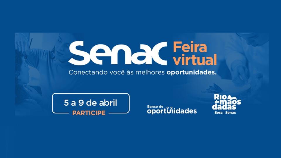 Vagas de emprego no Rio de Janeiro: banner da Feira Virtual Senac RJ em fundo azulado