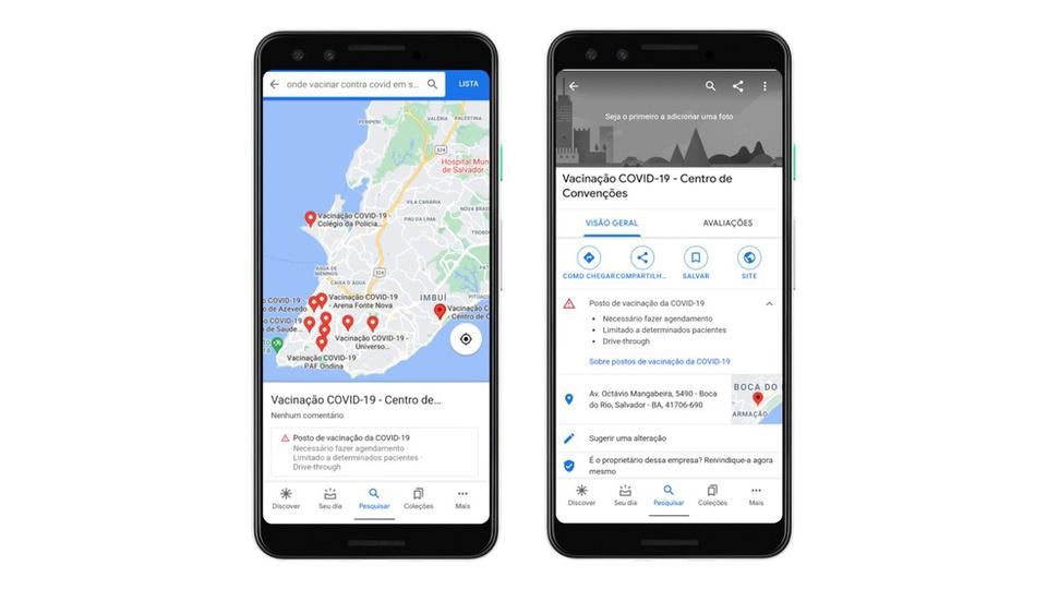 Google disponibiliza mapa com postos de vacinação contra COVID-19, smartphones com app do Google Maps