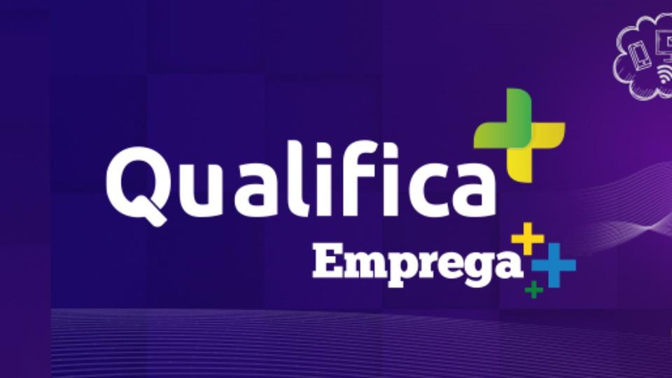 Programa de qualificação profissional do governo: banner do programa Qualifica Mais-Emprega Mais, do governo federal, em fundo roxo