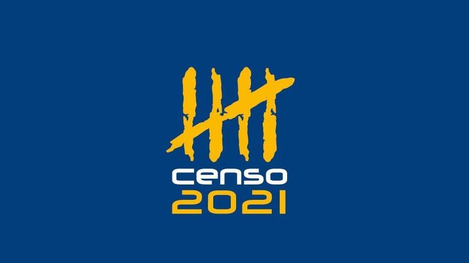 censo 2021: a imagem mostra a logo do Censo 2021 em fundo azul
