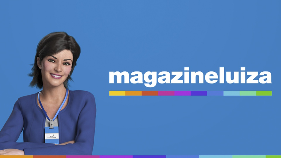 magazine luiza: a imagem mostra a Lu do MagaLu em fundo azul ao lado do nome da rede de lojas