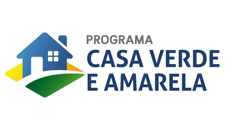 Obras paralisadas no programa Casa Verde e Amarela: logo do programa Casa Verde e Amarela em fundo branco