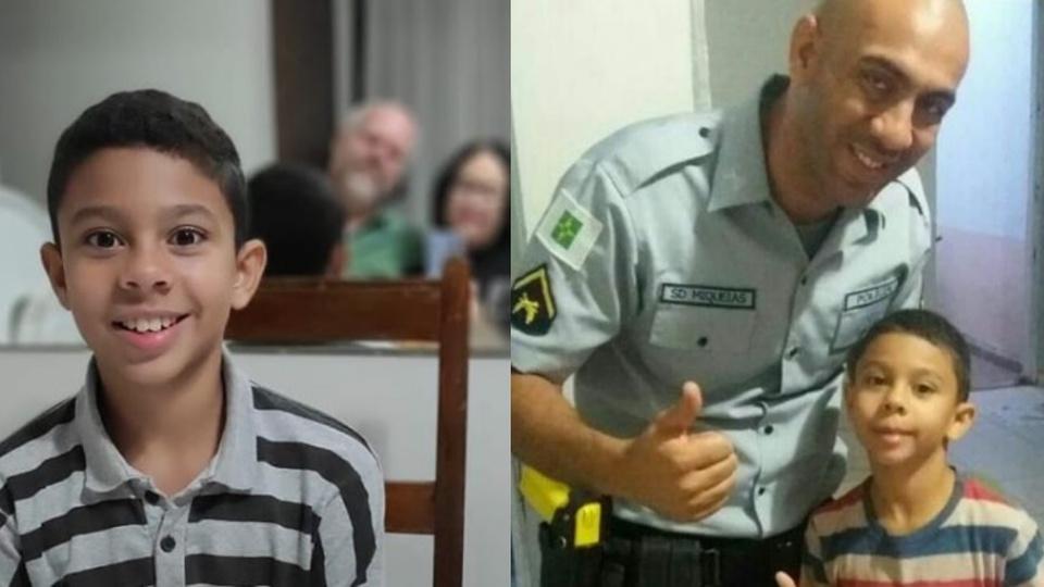 O concurseiro mais novo do Brasil: montagem com duas fotografias. Na primeira, é possível ver o jovem Otavio Ferreira. Na segunda, ele está acompanhando de seu pai Miqueias.