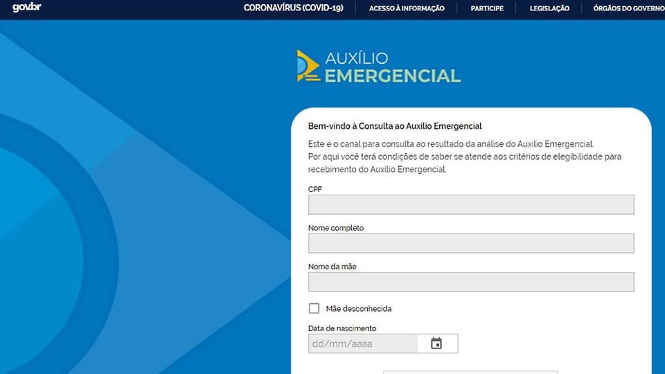 Pedido do auxílio emergencial: print da página para consultar informações sobre o auxílio emergencial