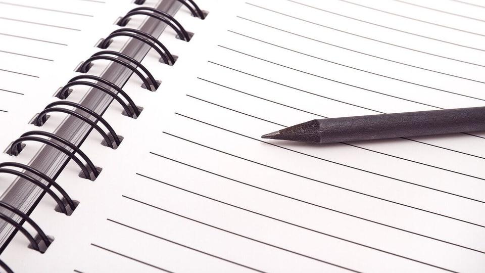 Prefeitura de Arroio Trinta: a imagem mostra um lápis sobre caderno aberto