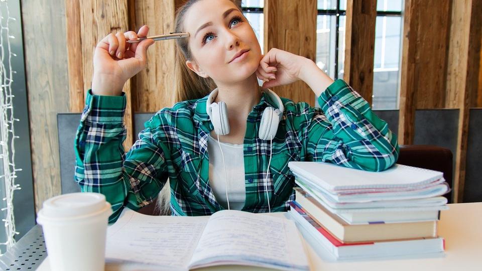 Prefeitura de Pomerode: imagem de uma menina sentada em escrivaninha com vários livros empilhados e caderno aberto