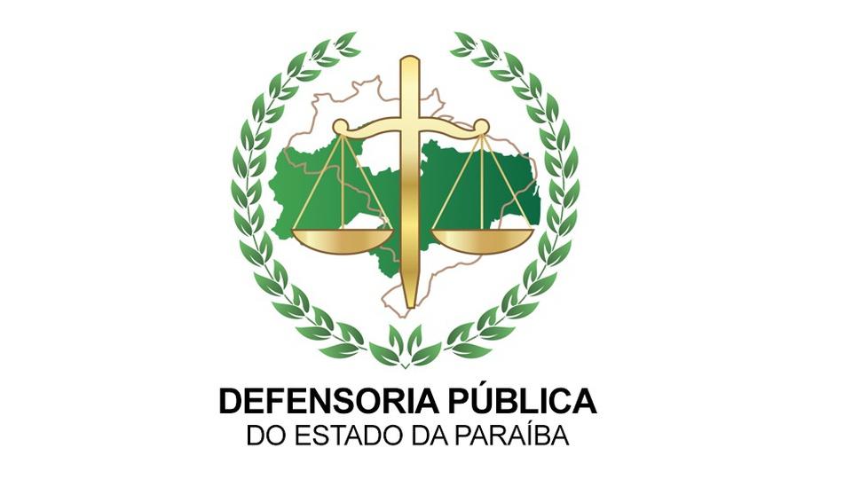 Processo seletivo Defensoria Pública da Paraíba: a imagem mostra a logo do órgão com uma desenho do brasil ao fundo, balança do Direito à frente cercada de folhas de oliveira