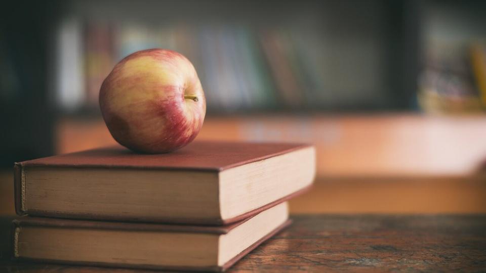 Processo seletivo IFES: maçã sobre livros empilhados em cima da mesa