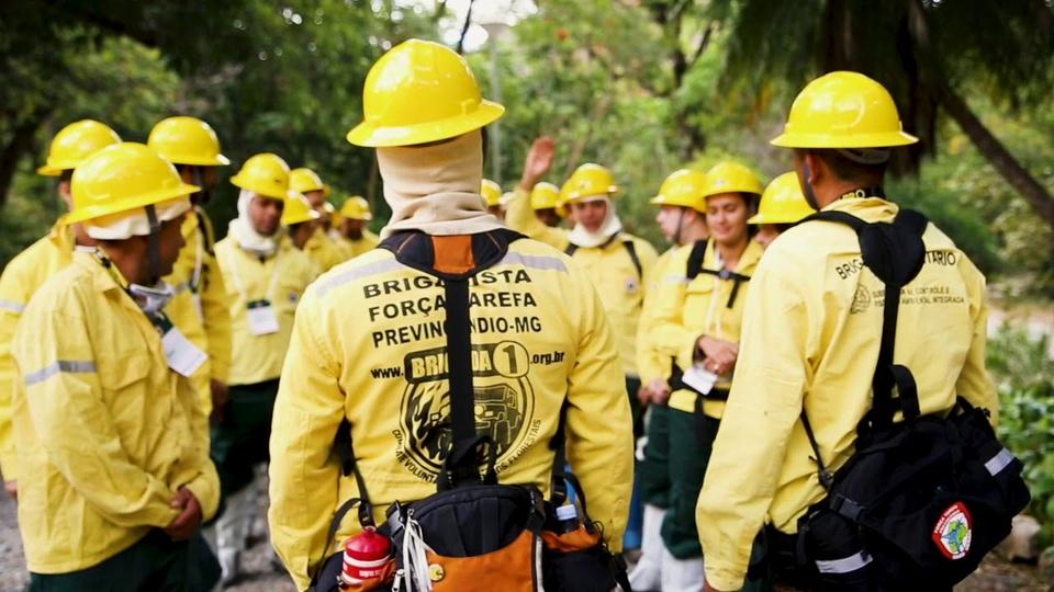 Processo seletivo Instituto Estadual de Florestas - a foto mostra brigadistas em treinamento em minas gerais