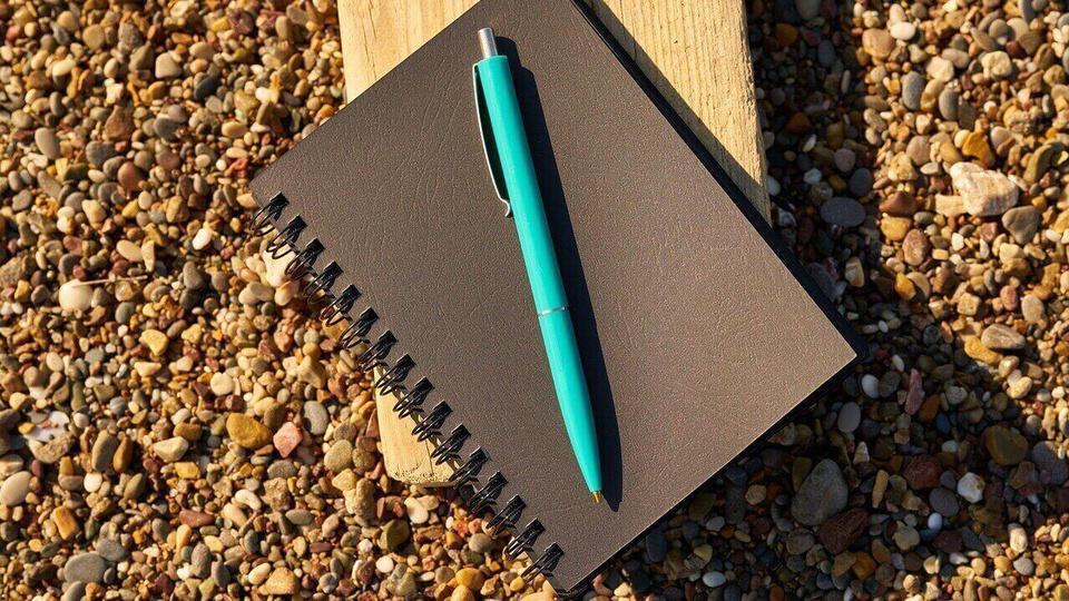 Processo seletivo Prefeitura de Alambari: a imagem mostra caneta azul sobre caderno de capa preta que está em cima de tora de madeira na grama