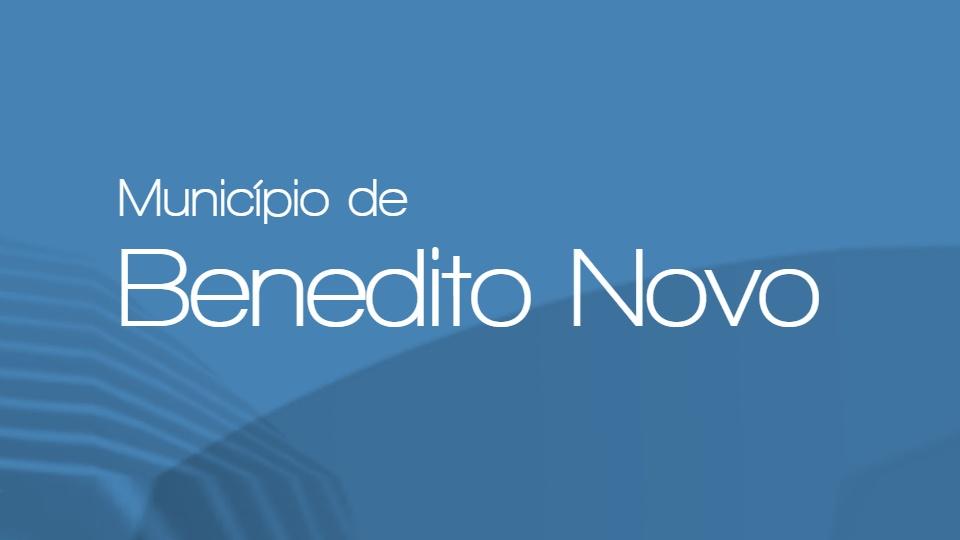 """Processo seletivo Prefeitura de Benedito Novo - SC: texto """"Município de Benedito Novo"""" em fundo azulado"""