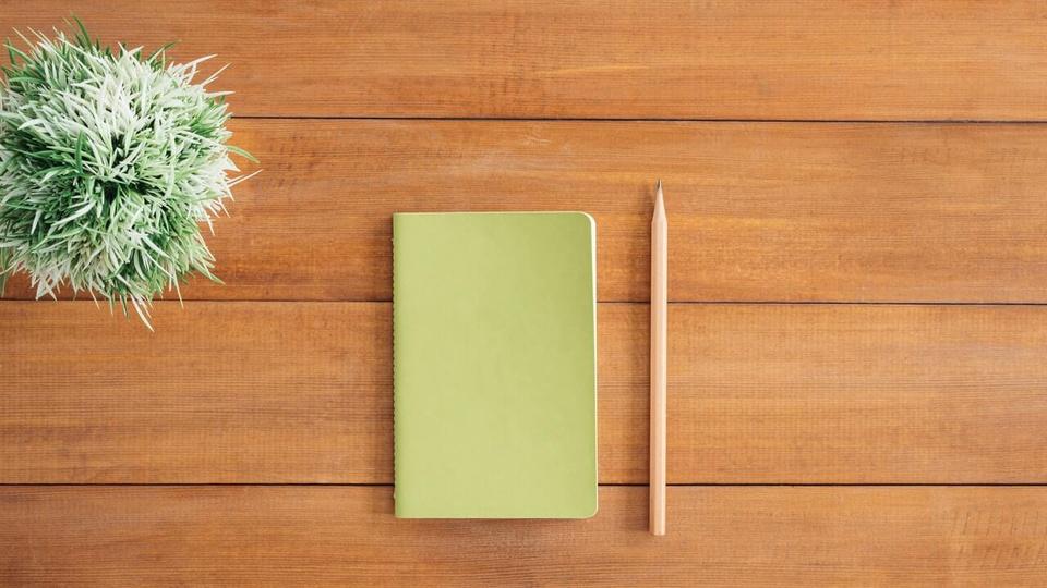 Processo seletivo Prefeitura de Parobé: a foto mostra um bloquinho de anotação verde com lápis ao lado em cima de mesa de madeira e vaso de planta à esquerda