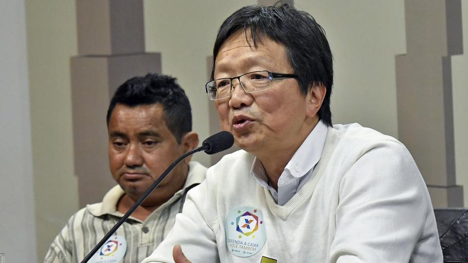 Reforma administrativa blinda elite: O presidente da Fenae, Sérgio Takemoto, em pronunciamento