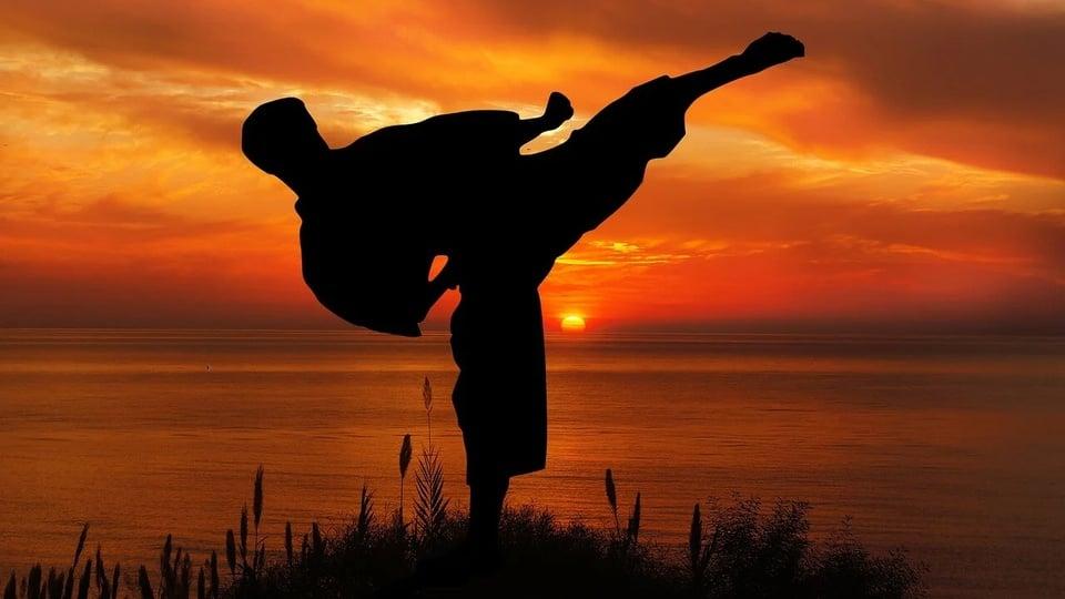 SEEL - GO: a foto mostra um foco de frente ao por do sol com vulto de homem treinando karatê sozinho